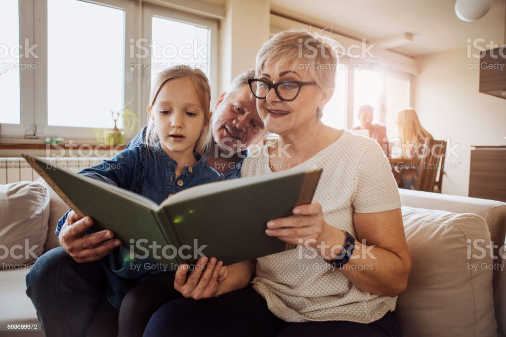 Reading a story stock photo