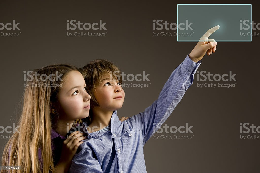Reading A Virtual Book.Color Image stock photo