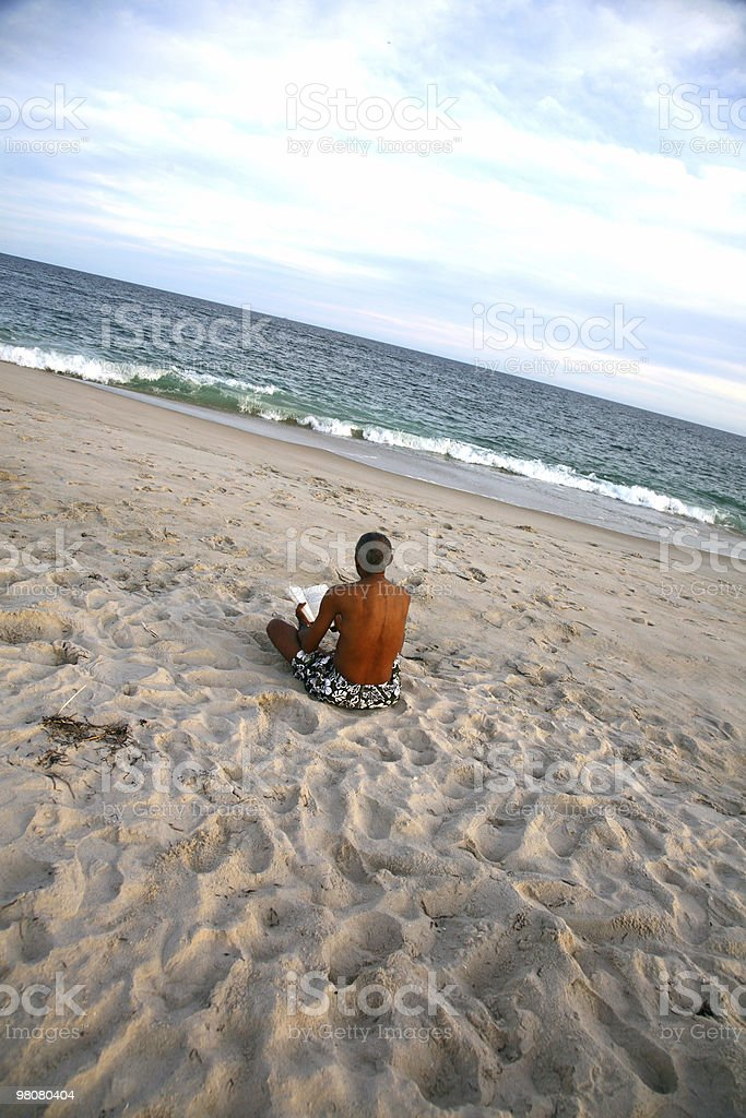 Reading Alone on the Beach royalty-free stock photo