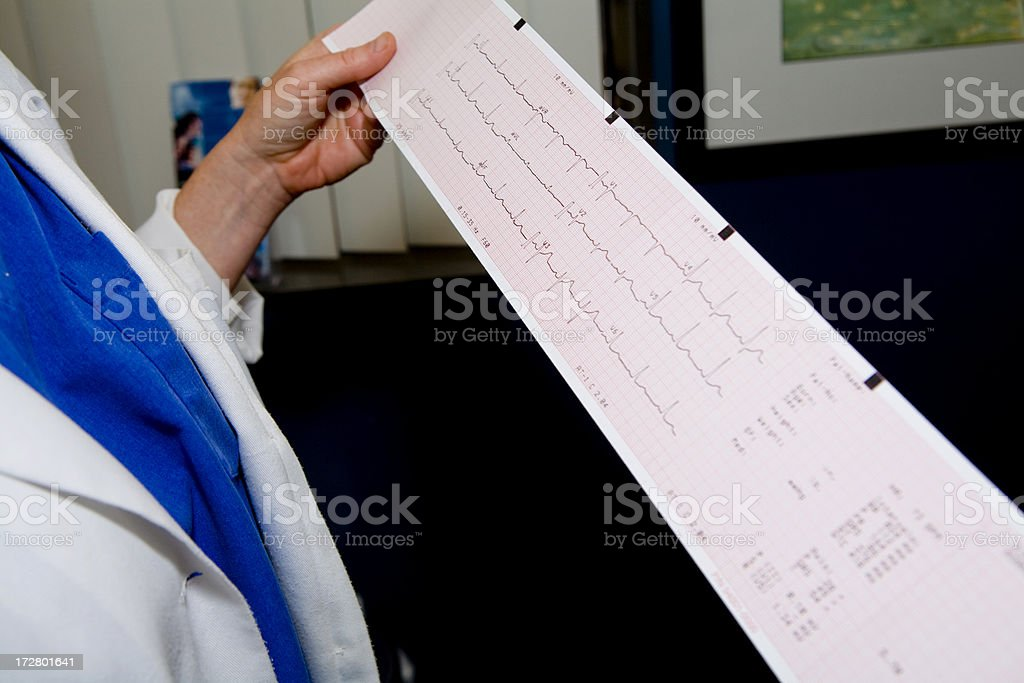 Reading an EKG Strip royalty-free stock photo