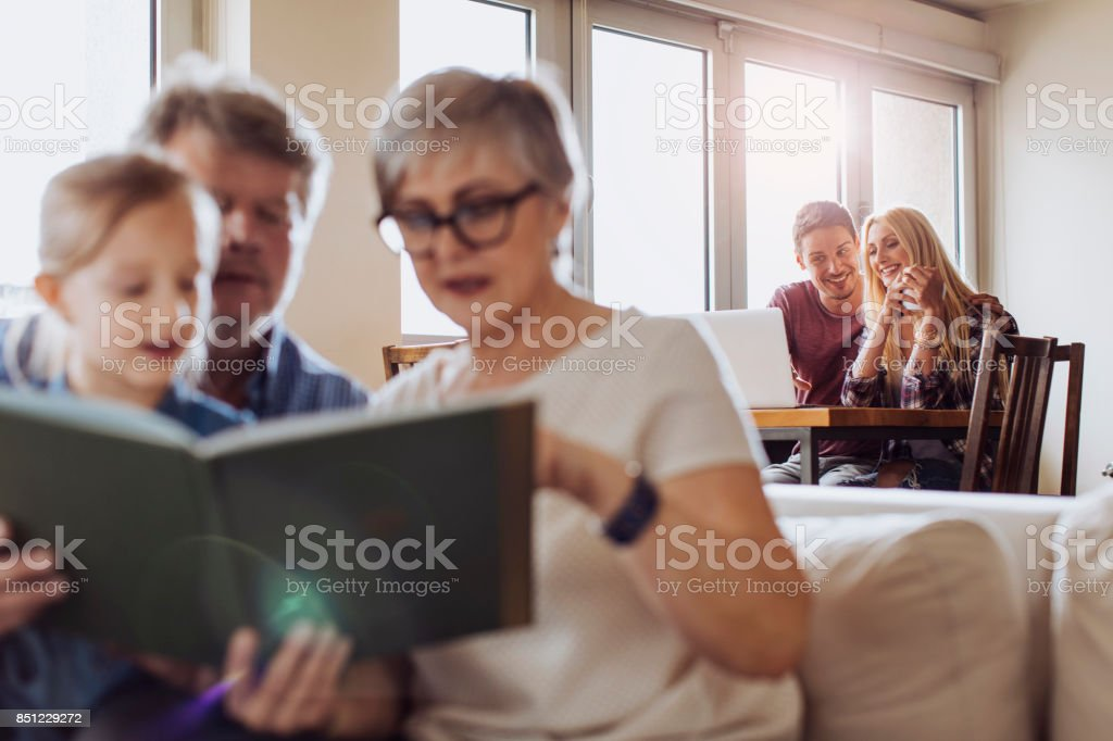 Reading and bonding stock photo