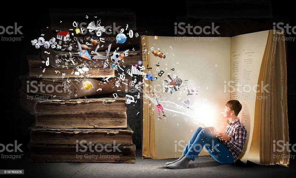Reading and imagination stock photo