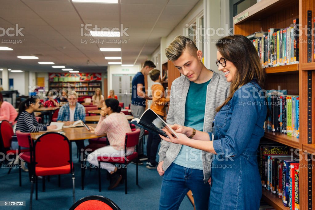 Reading At School stock photo