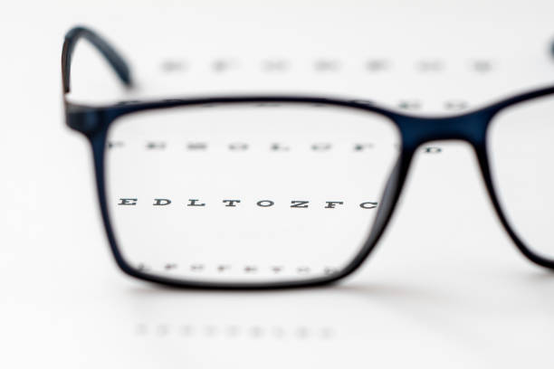 Reading black eyeglasses and eye chart close-up, shallow depth of field stock photo