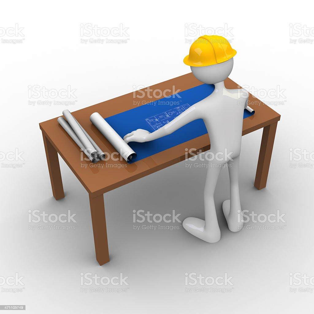 Reading blueprint royalty-free stock photo