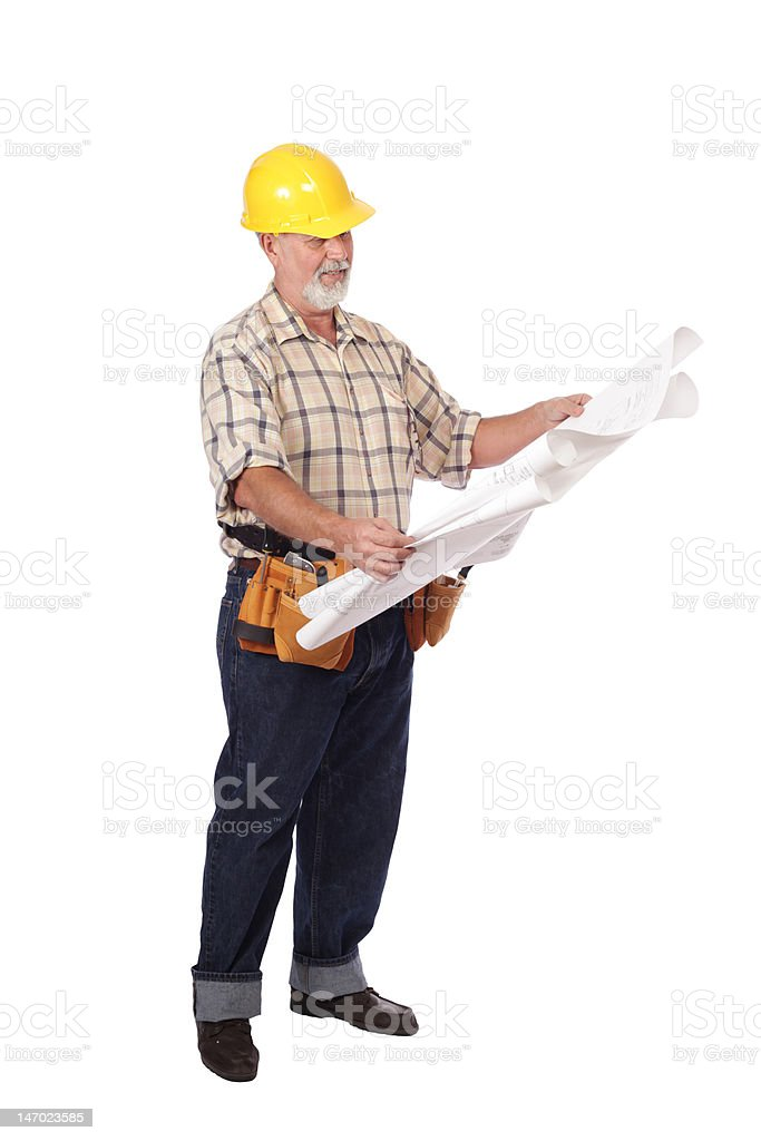 Reading blueprints royalty-free stock photo