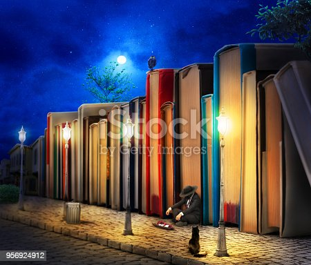 istock Reading concept. Fantasy. Stack of book as buildings on a street with streetlight in night. 3d illustration. 956924912