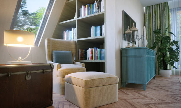 Reading Corner In Attic Bedroom stock photo