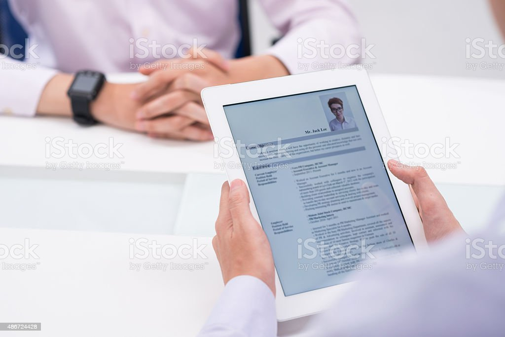 Reading cv stock photo