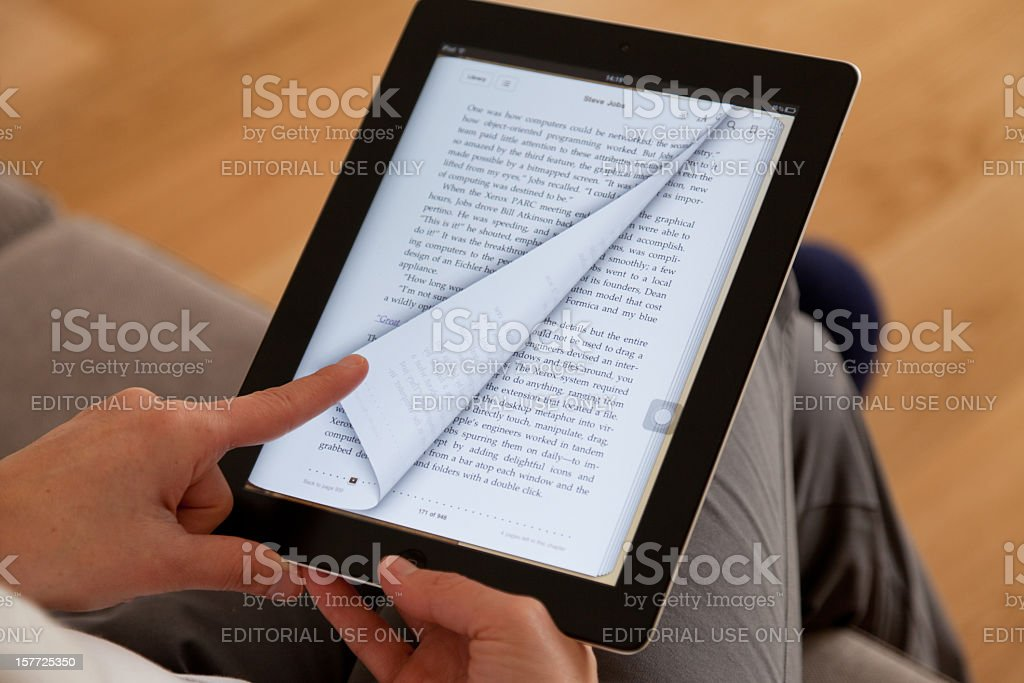 Reading ebook stock photo