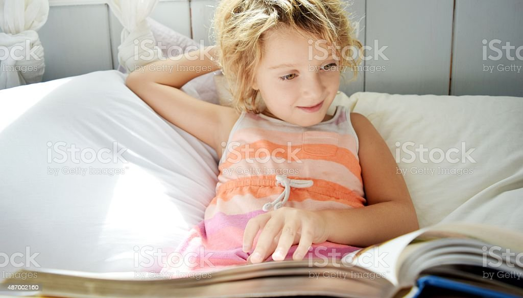 Reading for fun stock photo