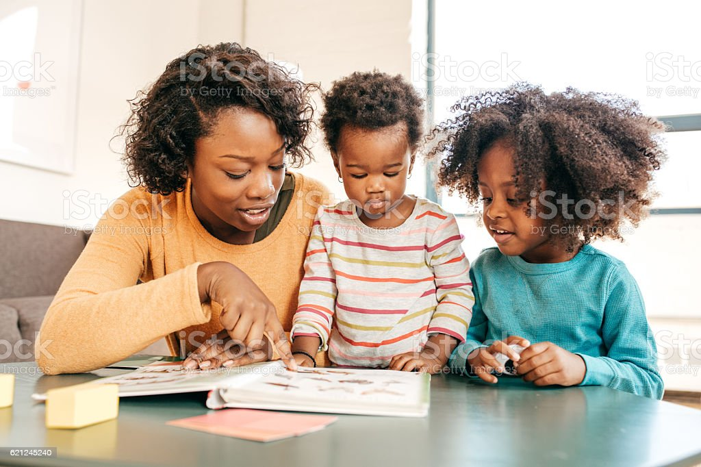 Reading for toddlers stock photo