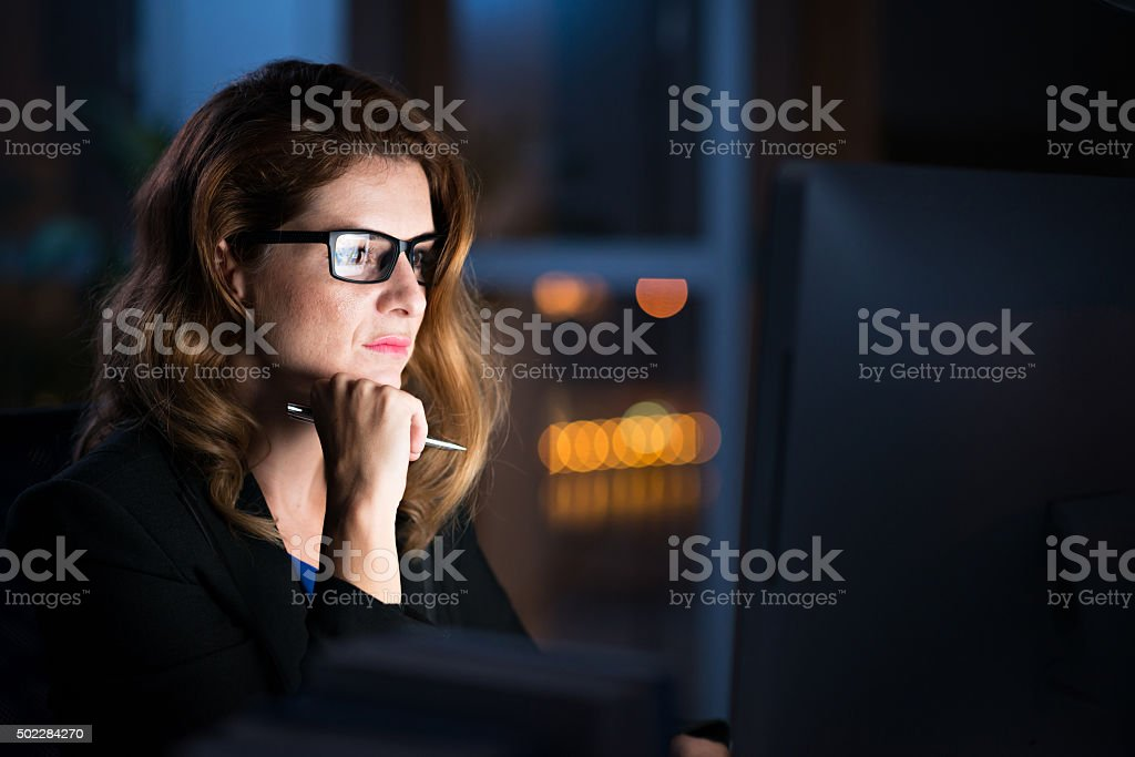 Reading important information stock photo