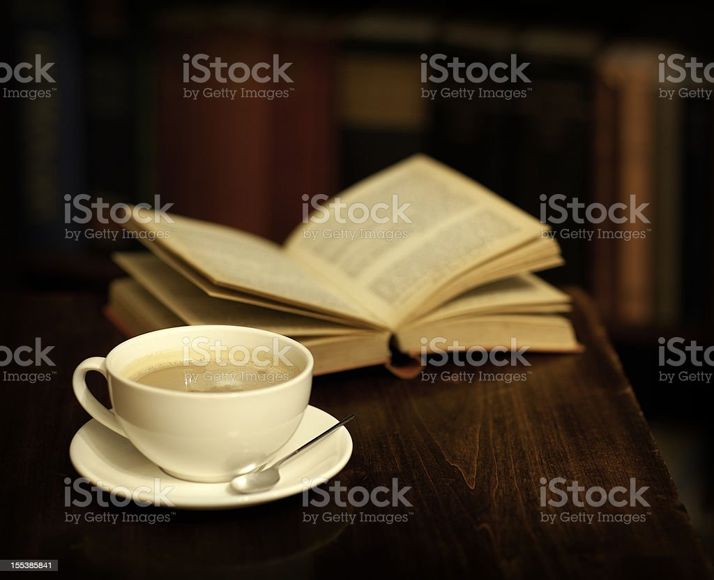 Reading in a library, book shop or cafe royalty-free stock photo