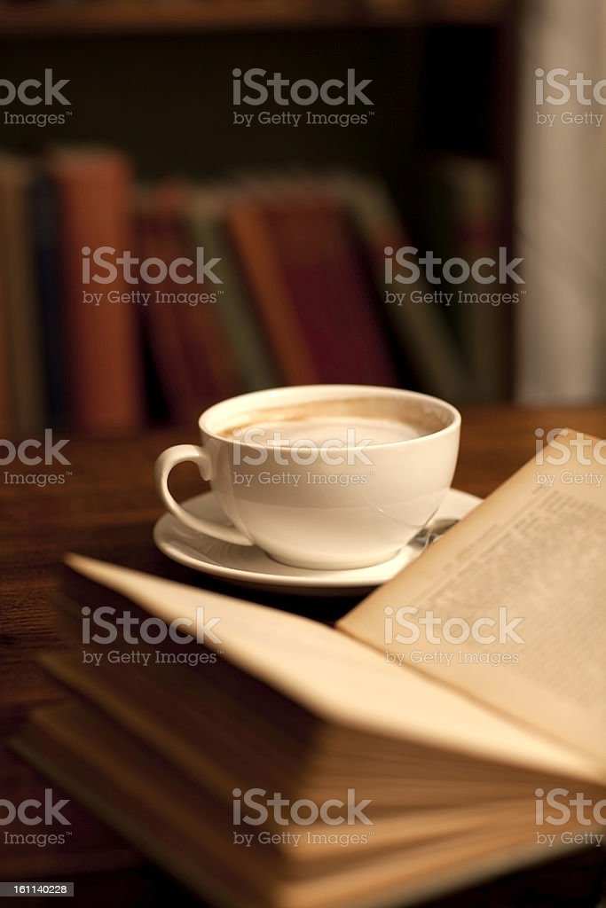 Reading in a library or book shop royalty-free stock photo