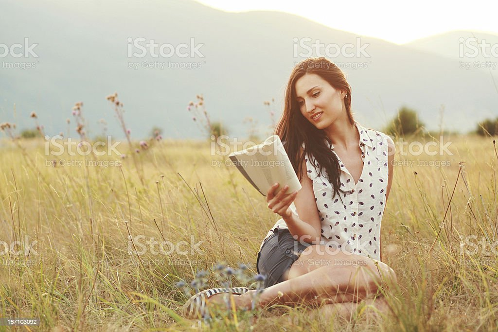 reading in nature royalty-free stock photo