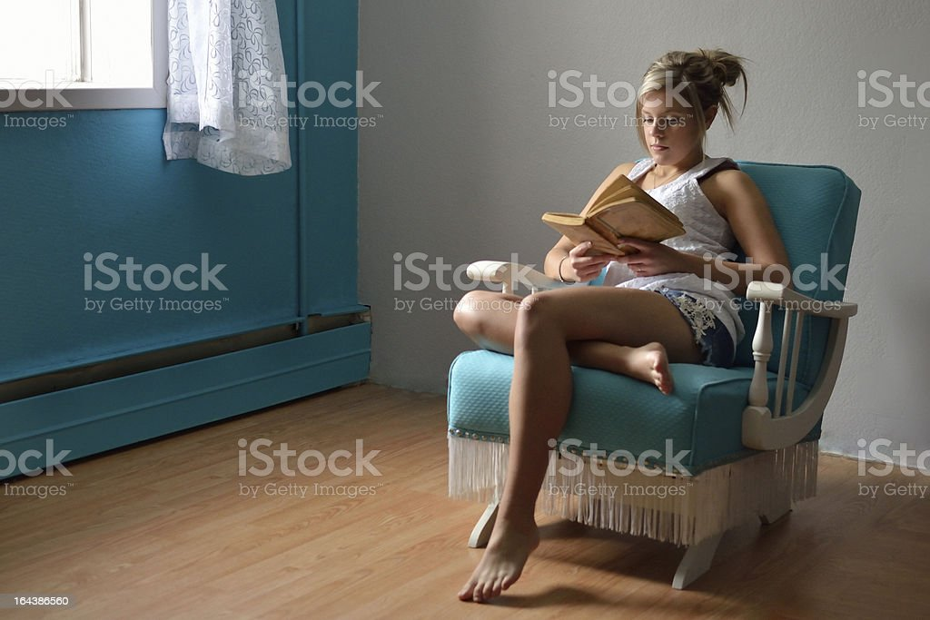 reading in the daylight stock photo