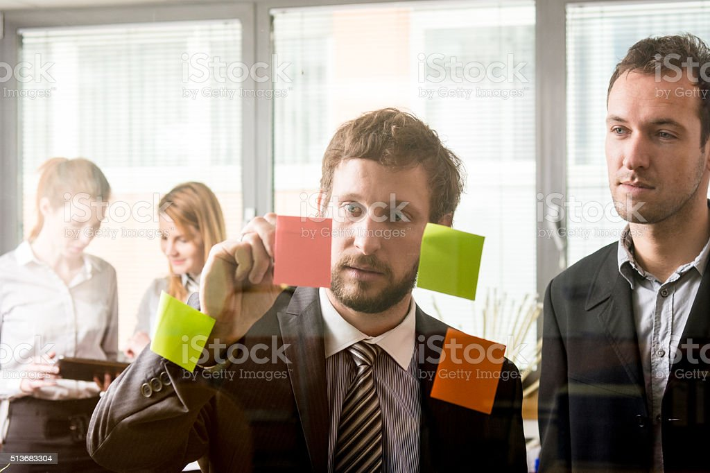 Reading key points stock photo