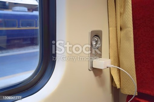 Reading light and AC power outlet 220V  for passengers on the train