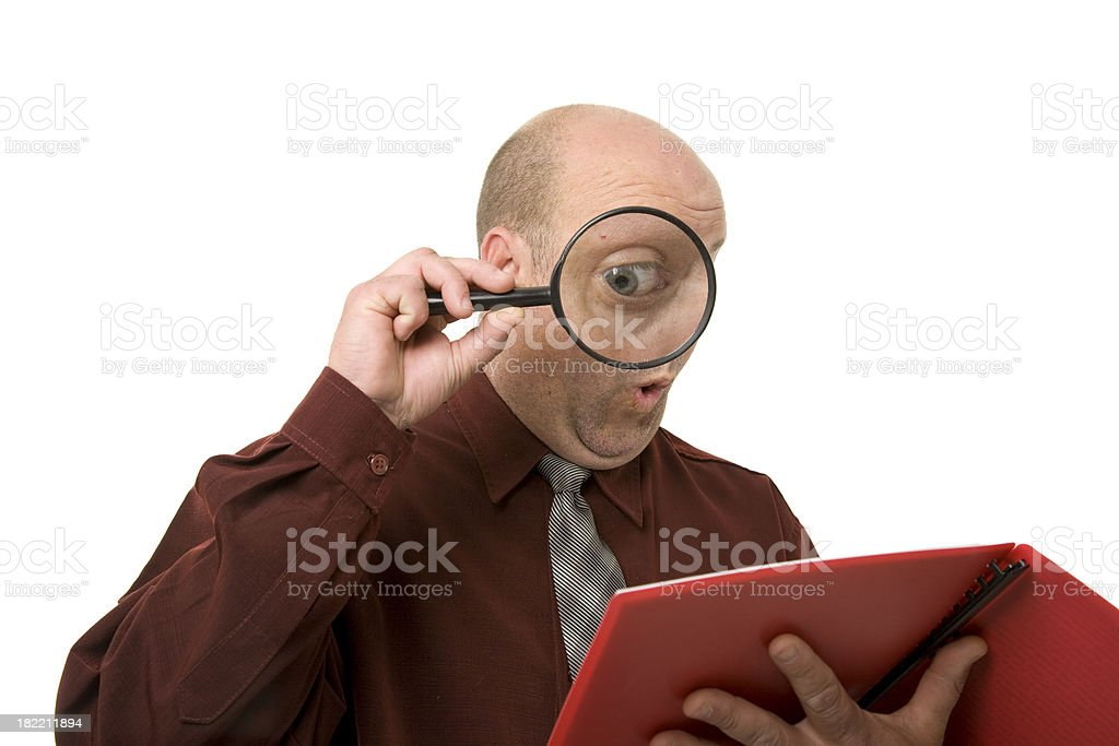 Reading Magnified royalty-free stock photo