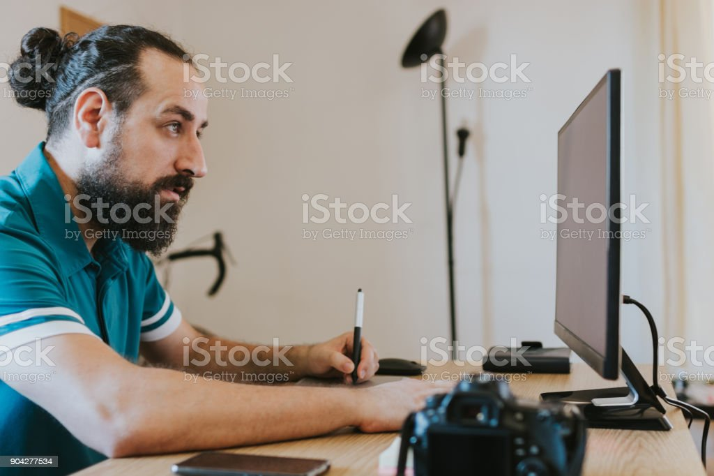 Reading new inputs stock photo