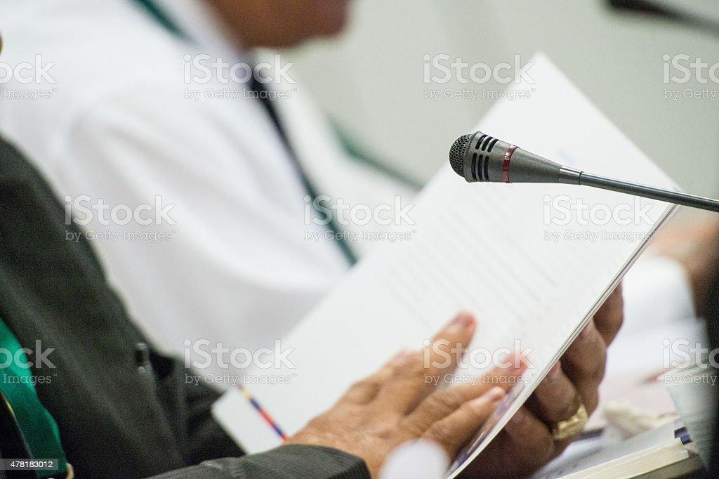 Reading notes stock photo