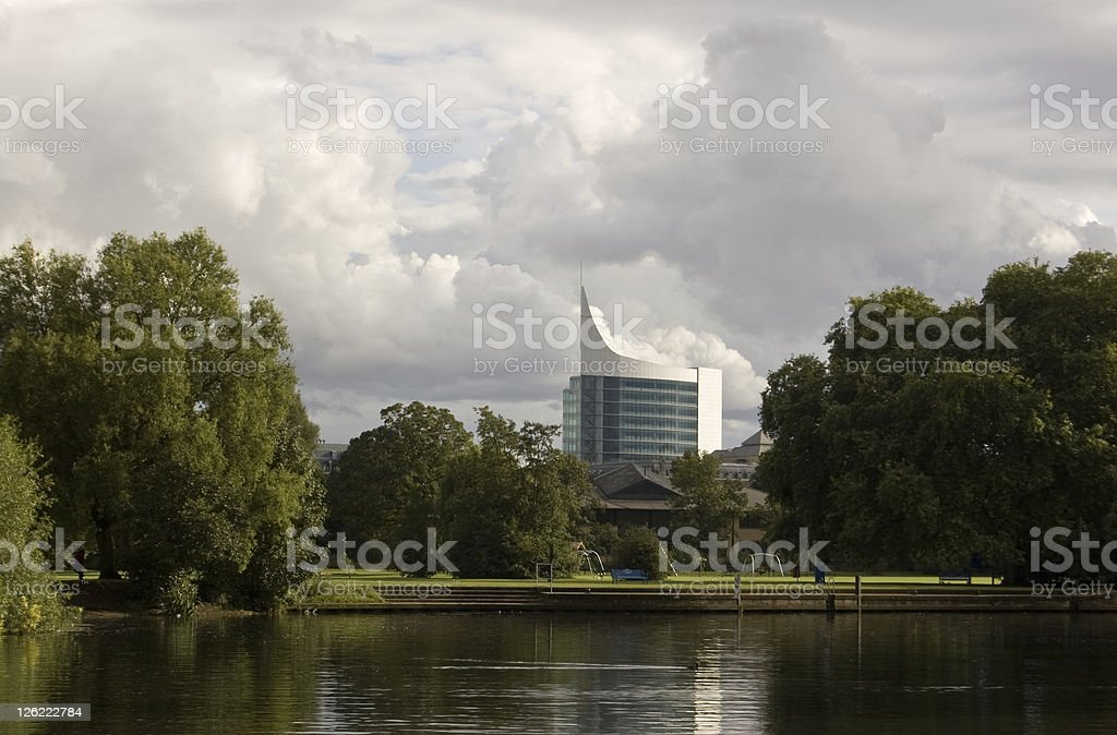 Reading office block from the River Thames royalty-free stock photo