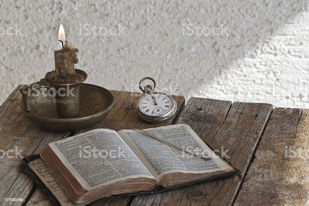 Reading old Holy Bible stock photo