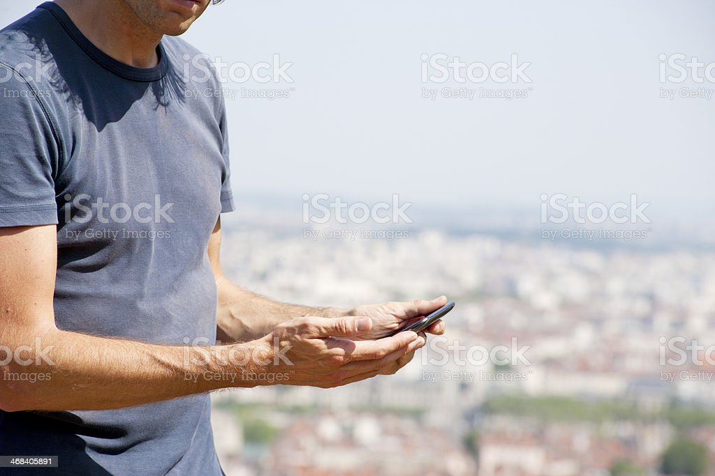 Reading on digital tablet royalty-free stock photo