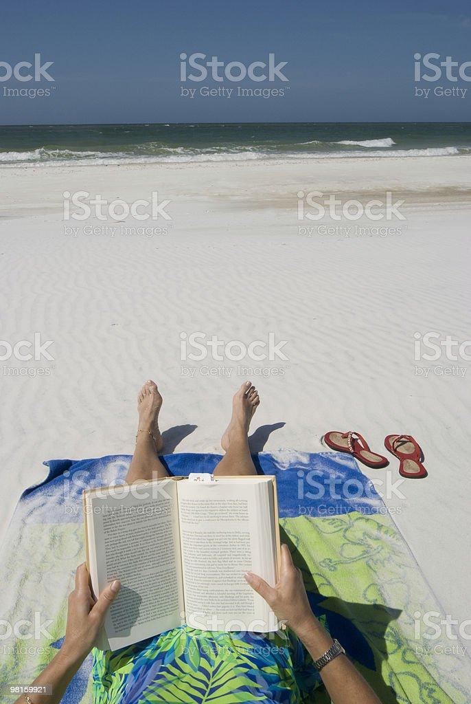 Reading on the beach royalty-free stock photo