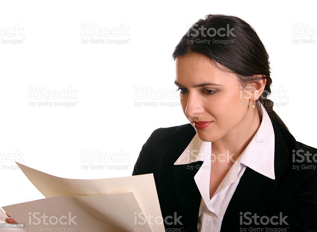 Reading papers royalty-free stock photo