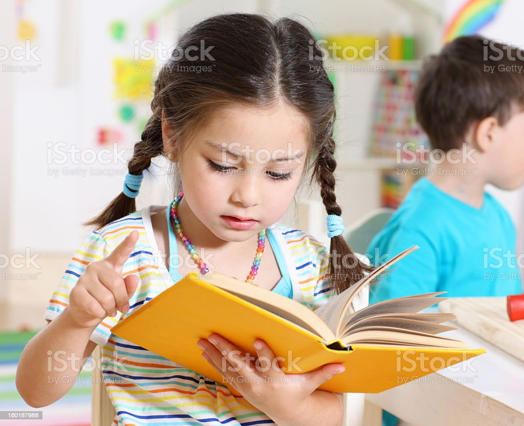 reading preschooler royalty-free stock photo