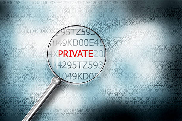 reading private screen magnifying glass 3D Illustrastion stock photo