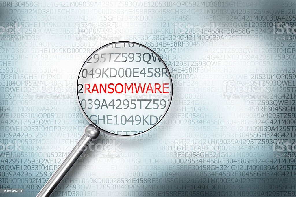 reading ransomware on computer screen magnifying glass 3D Illust stock photo