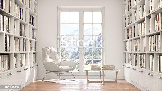 Reading room, 3d illustration, Bookshelves, reading place