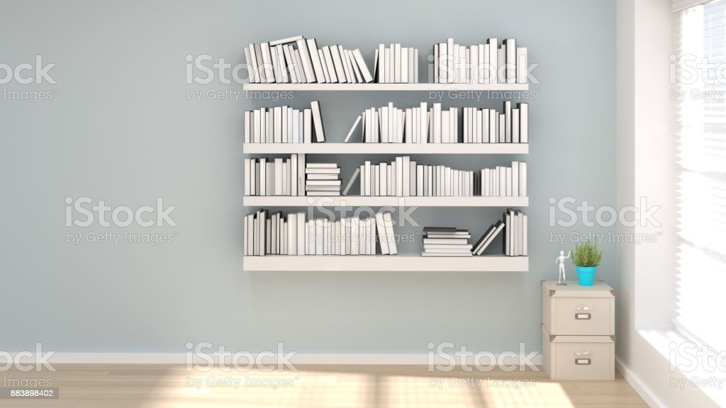 Reading Room Home Office Minimal Concept 3d Illustration Interior Design  Sofa In The Modern Living Room