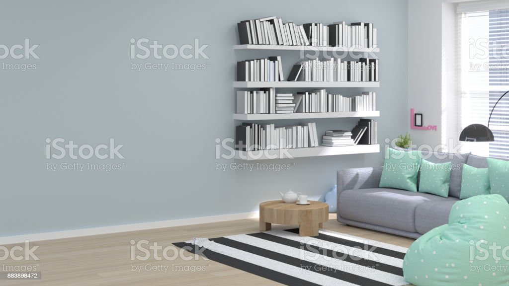 reading room home office minimal concept 3d