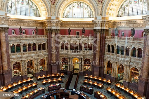 Washington DC, US - April 4, 2015: Interior of the Library of Congress (Capitol Hill) Reading room. Library of congress - the largest library in a world