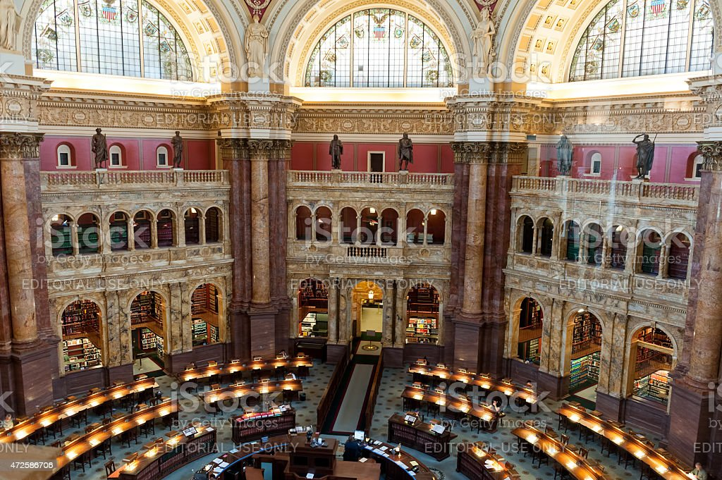 Reading room Interior of the Library of Congress stock photo