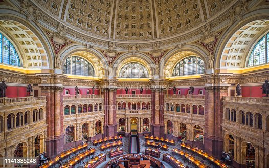 Washington DC, US - April 6, 2019: Interior of the Library of Congress (Capitol Hill) Reading room. Library of congress - the largest library in a world