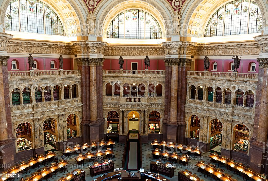 Reading room Interior of the Library of Congress,Washington DC stock photo