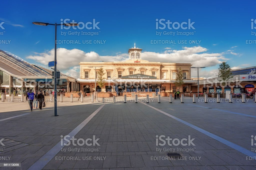 Reading station front forecourt area stock photo