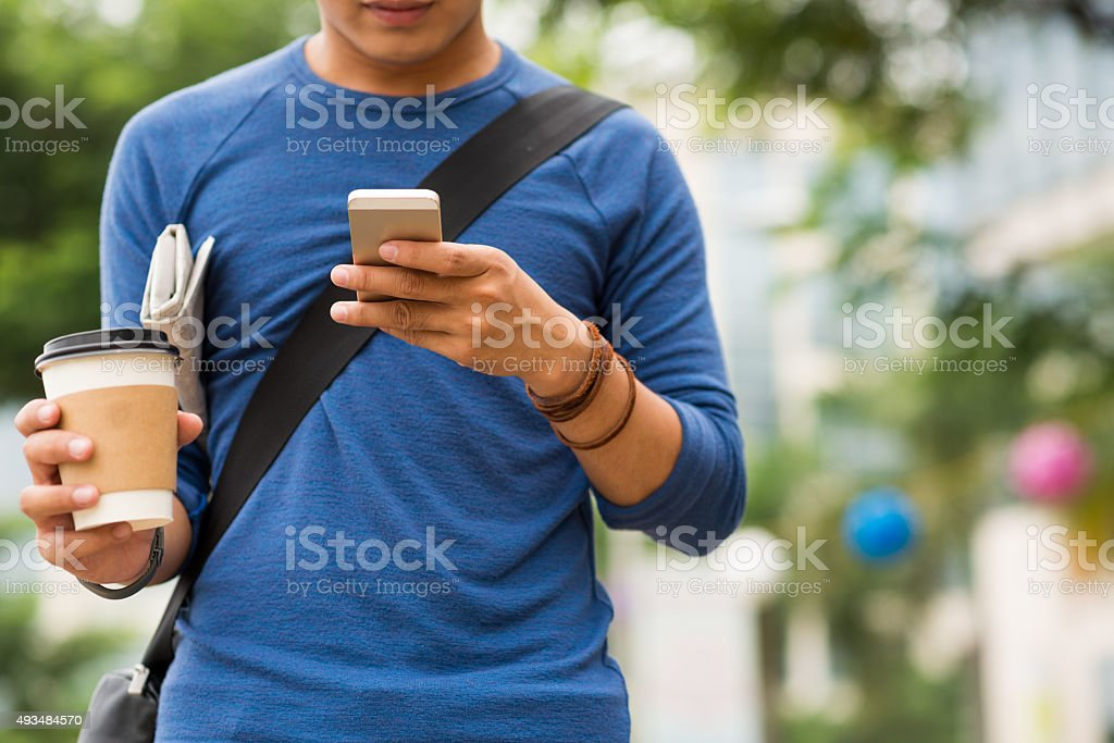 Reading text message stock photo