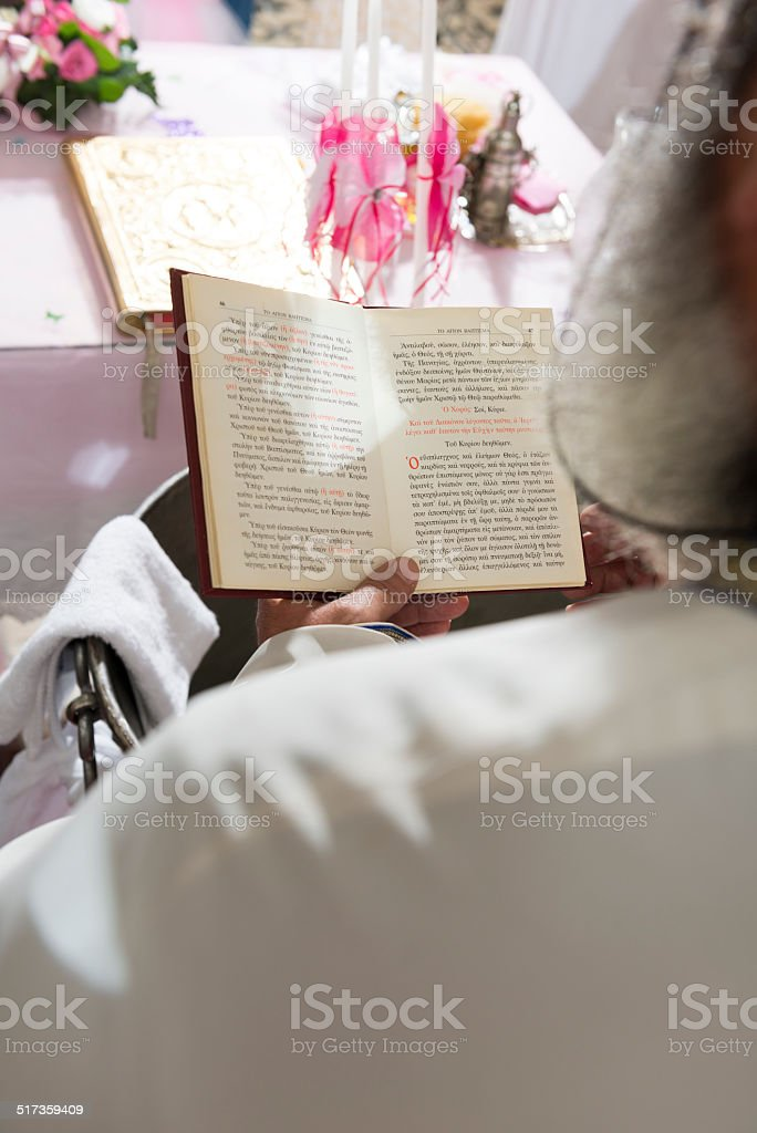 Reading the bible. stock photo