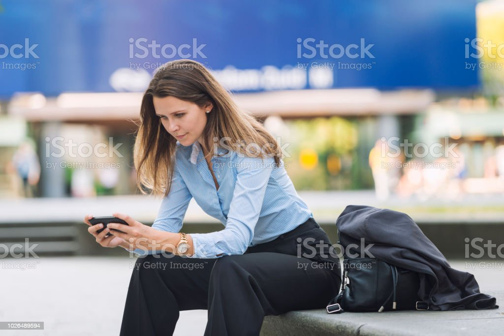 Reading the latest business news stock photo