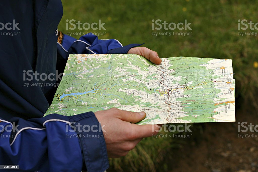 Reading the map royalty-free stock photo