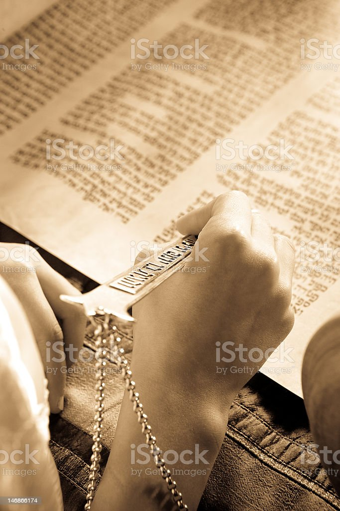 Reading the Torah on Bat Mitzvah stock photo