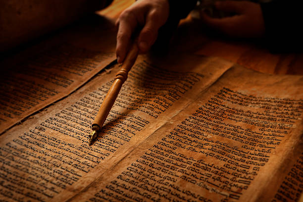 reading the torah - scroll stock photos and pictures