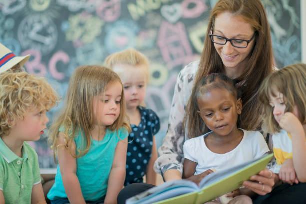 Reading to Preschoolers stock photo
