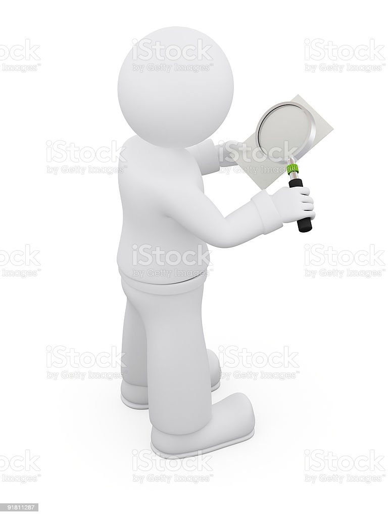 Reading with magnifying glass. royalty-free stock photo